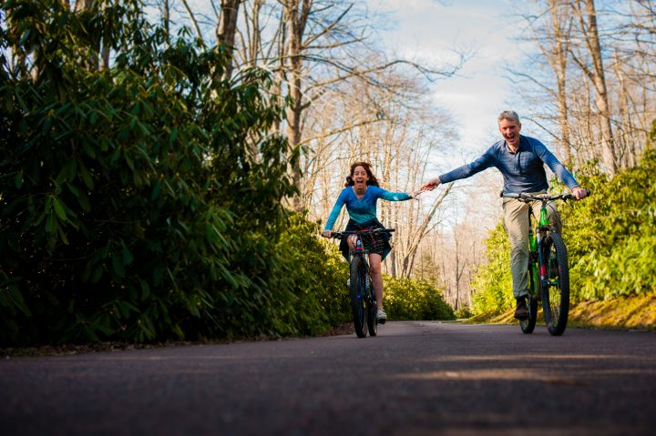 biking engagement session in asheville