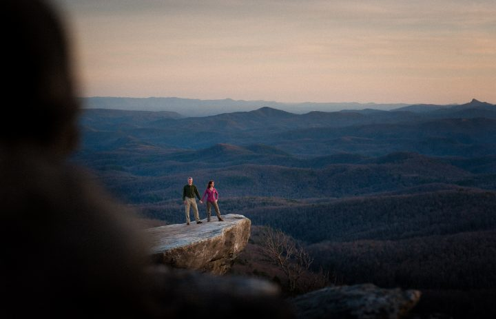 rough ridge engagement photo at sunset
