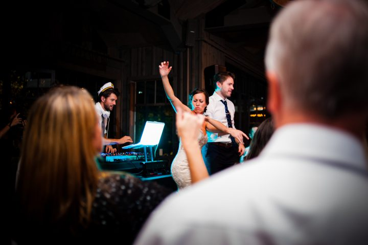 epic party on the dance floor during wedding at old edwards inn