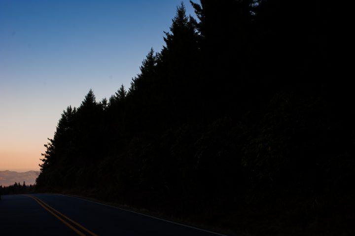 blue ridge parkway at sunset