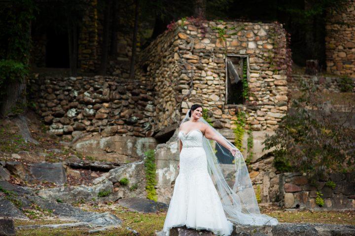 bridal portraits at brown mountain beach wedding