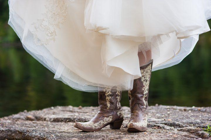 cowboy boots at an asheville mountain wedding