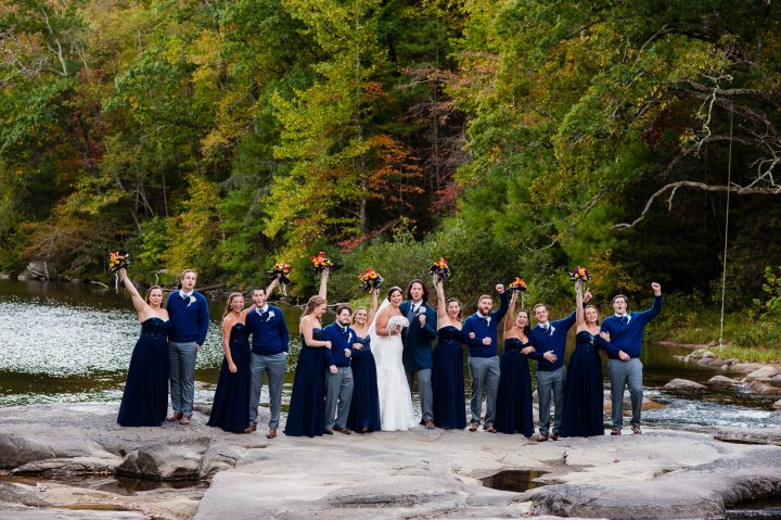 wedding party on the rocks at brown mountain beach resort