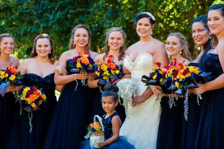 beautiful bridesmaids during brown mountain beach resort wedding