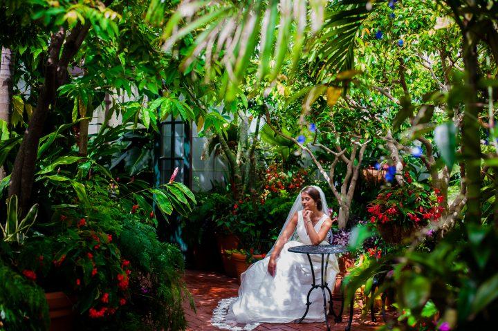 bridal portrait at the biltmore estate conservatory
