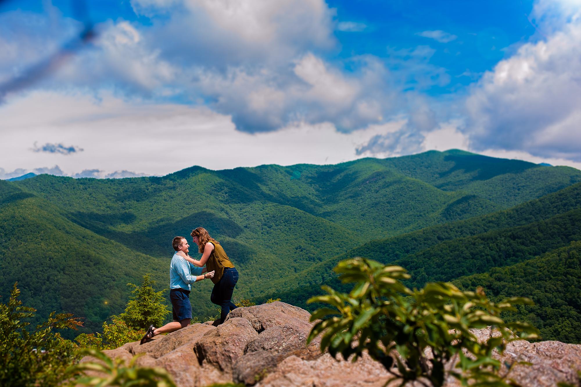 a beautiful adventure mountaintop proposal