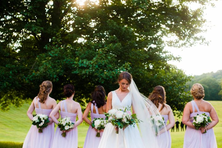 bride and bridesmaids in the meadow at lioncrest