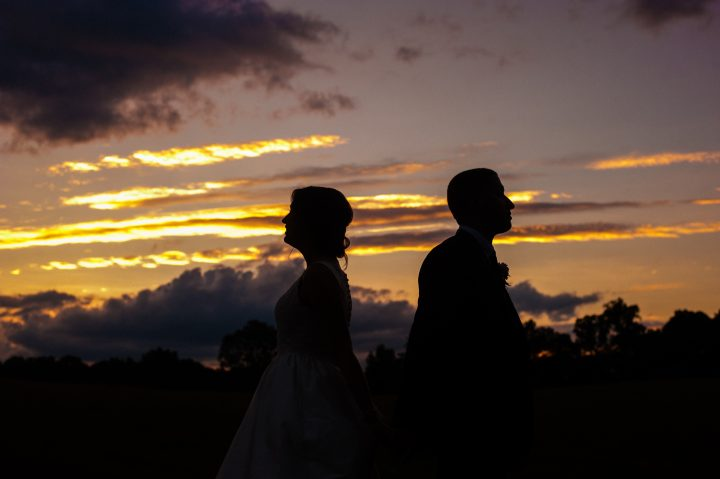 sunset photo of bride and groom in asheville at biltmore