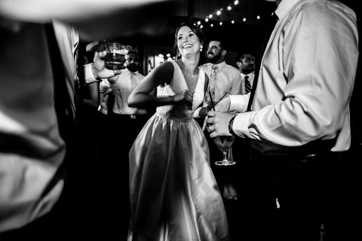 bride dancing during her outdoor reception at biltmore estate
