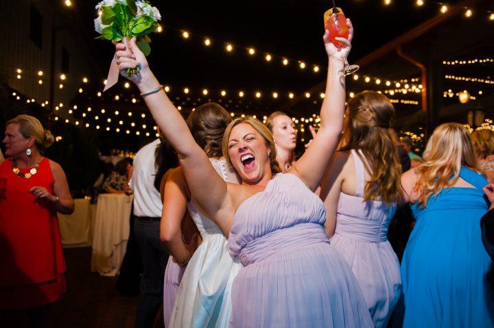 bridesmaid dancing during wedding reception