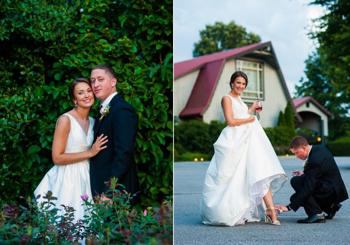 wedding portraits of bride and groom on the biltmore estate