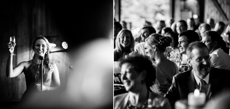 maid of honor gives toast at vineyards at bettys creek wedding