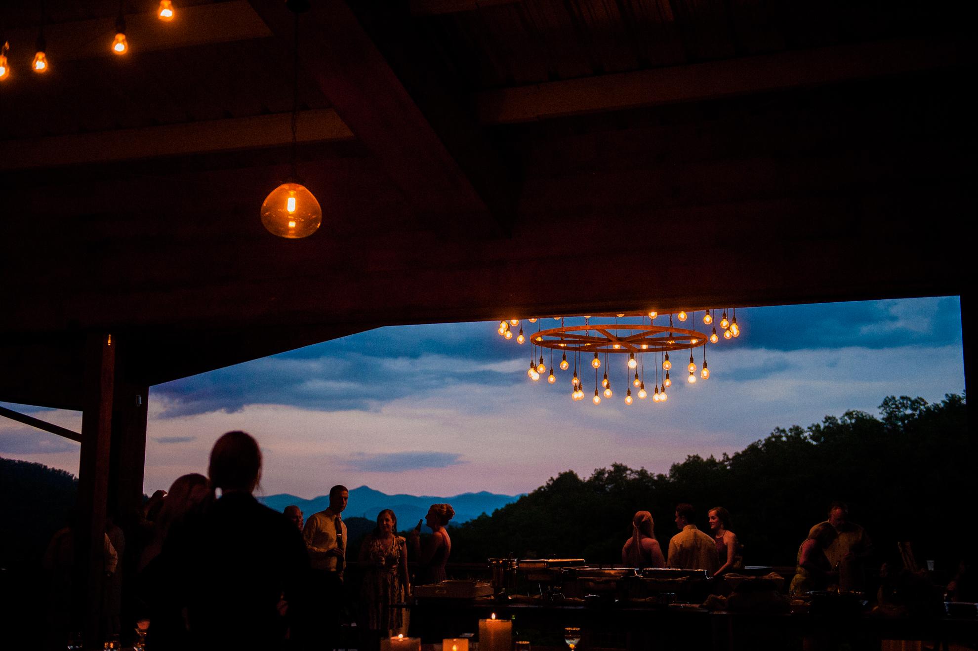 vineyards at bettys creek reception pavillion at sunset