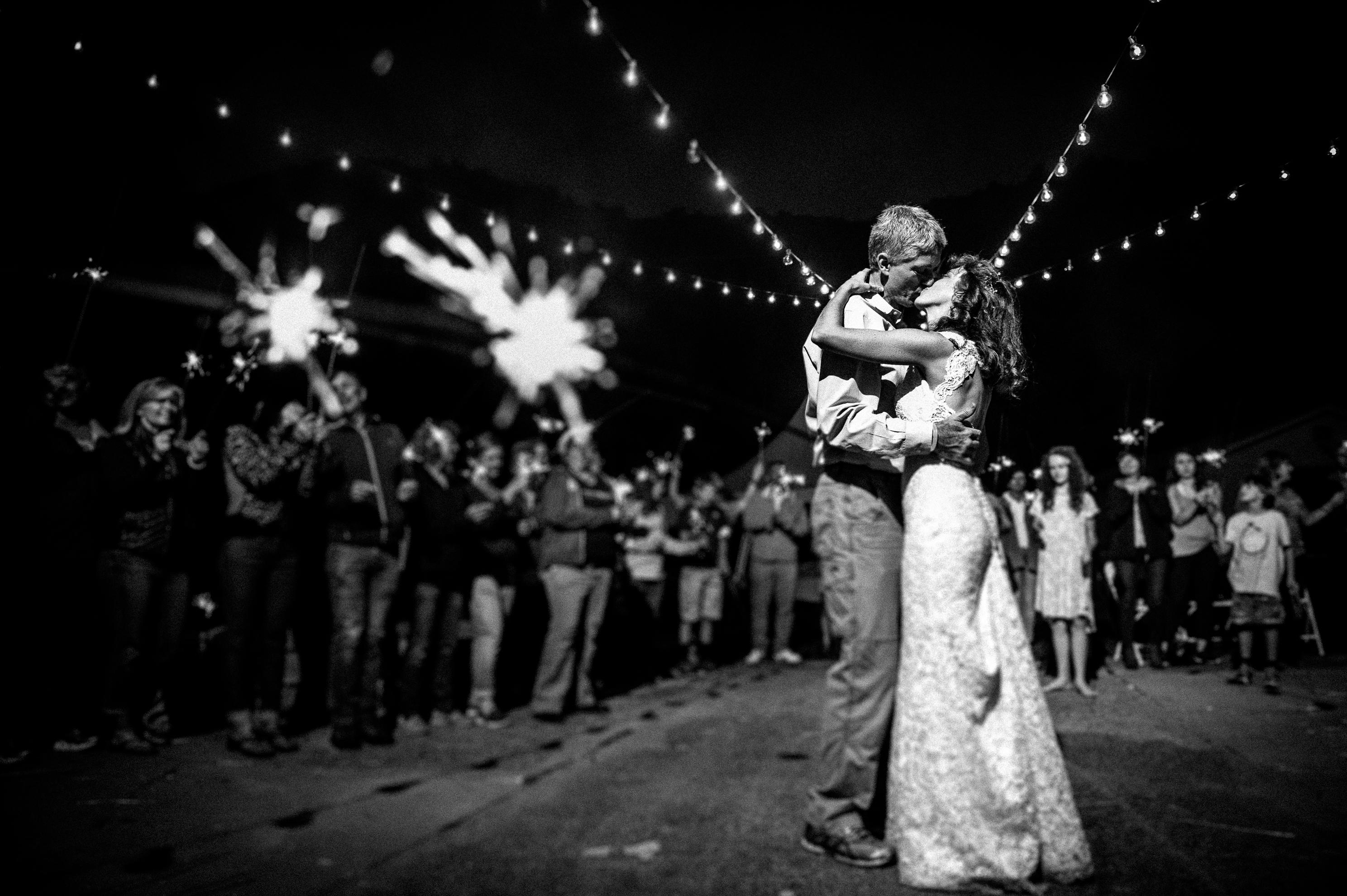 last dance with sparklers at Oskar Blues wedding