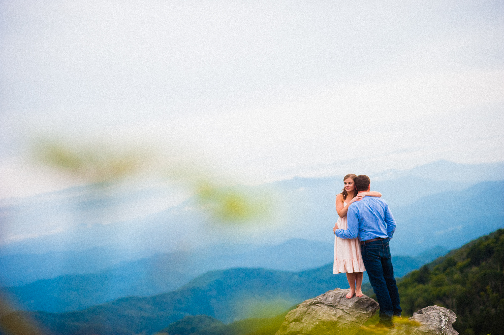 adorable asheville couple on top of roan mountain during engagement session