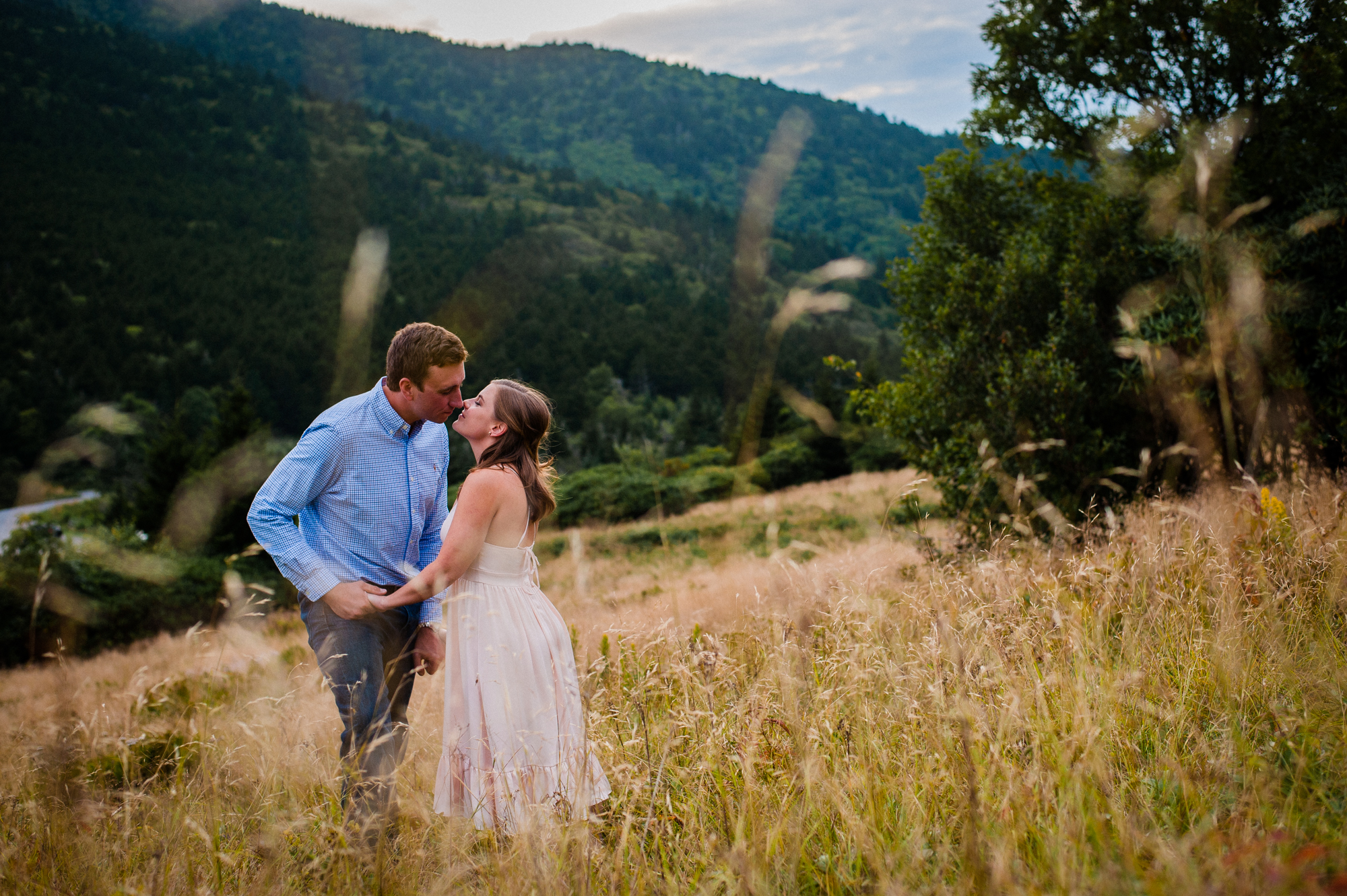 engagement session in a field near carvers gap