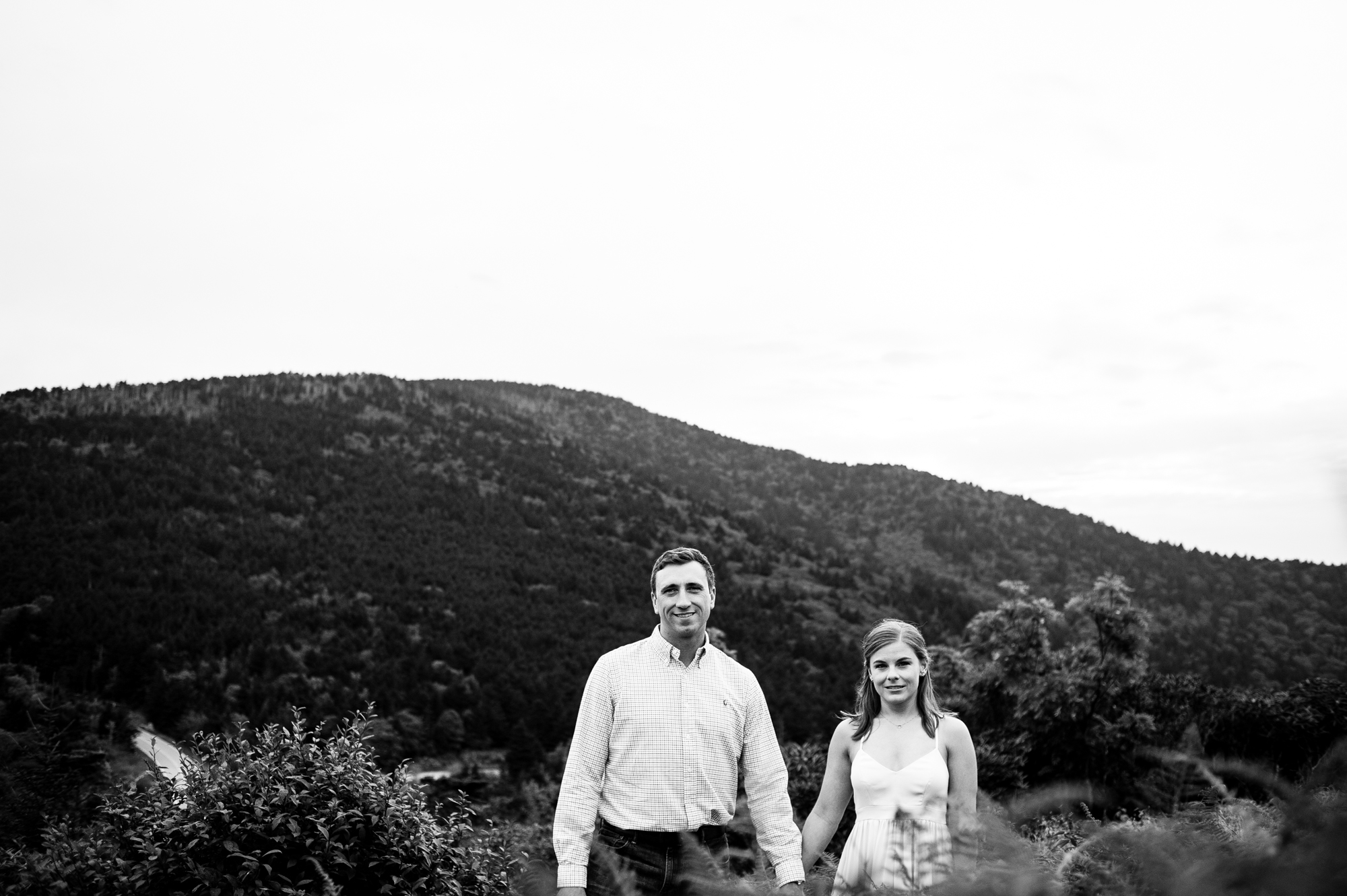 newly engaged couple near roan mountain