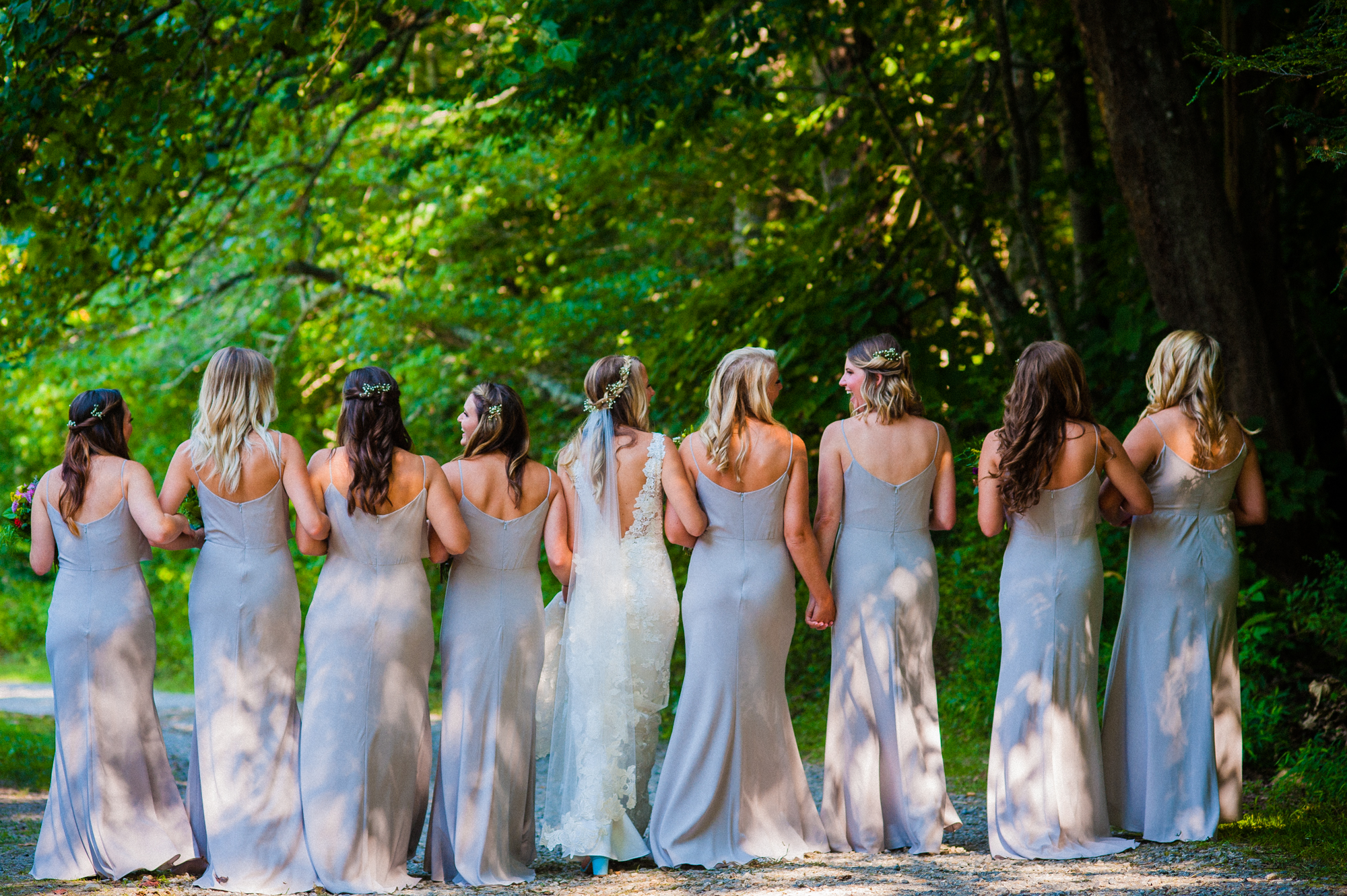 bride and her girls at the fields at blackberry cove