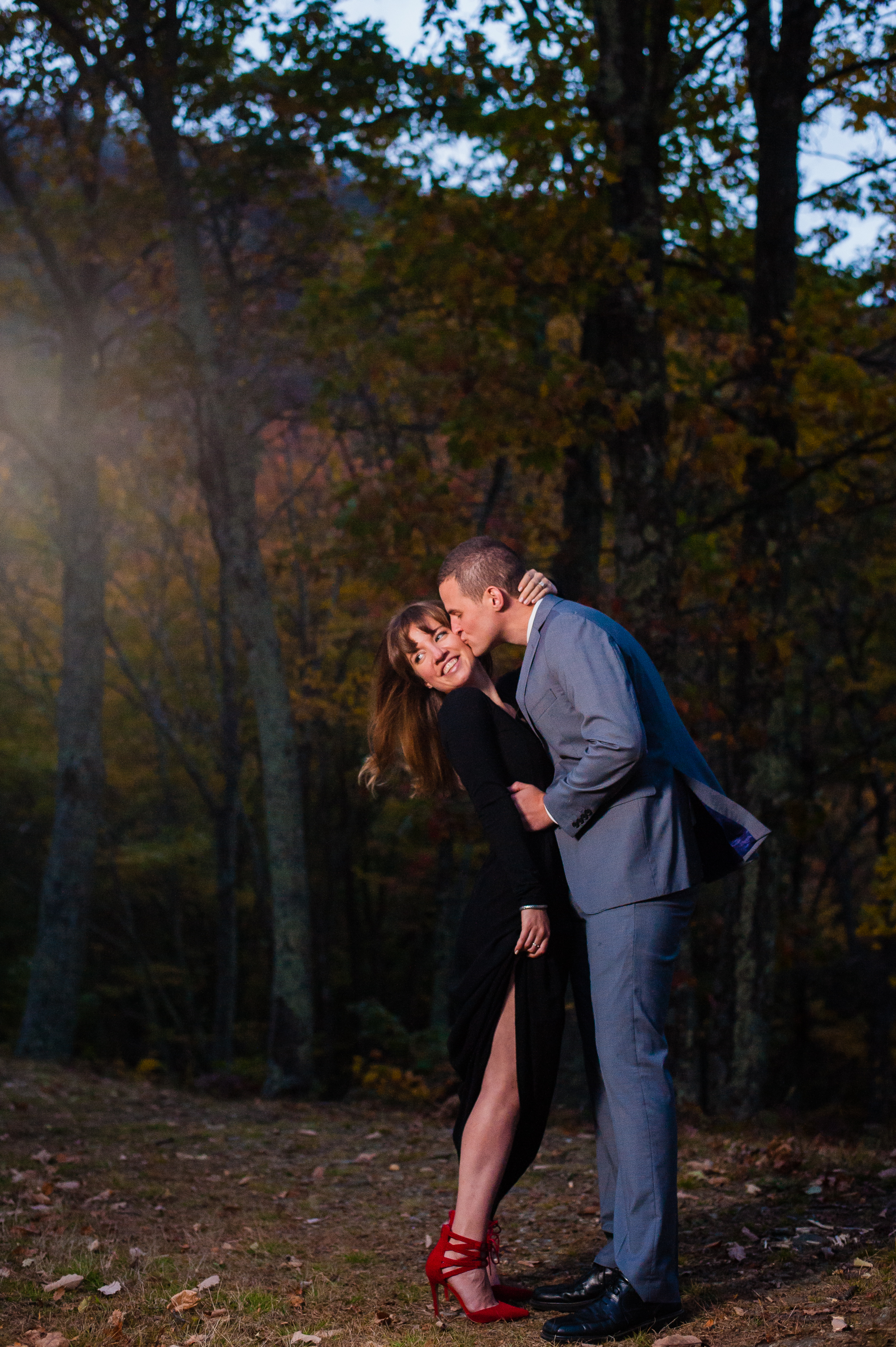 evening engagement session on the blue ridge parkway