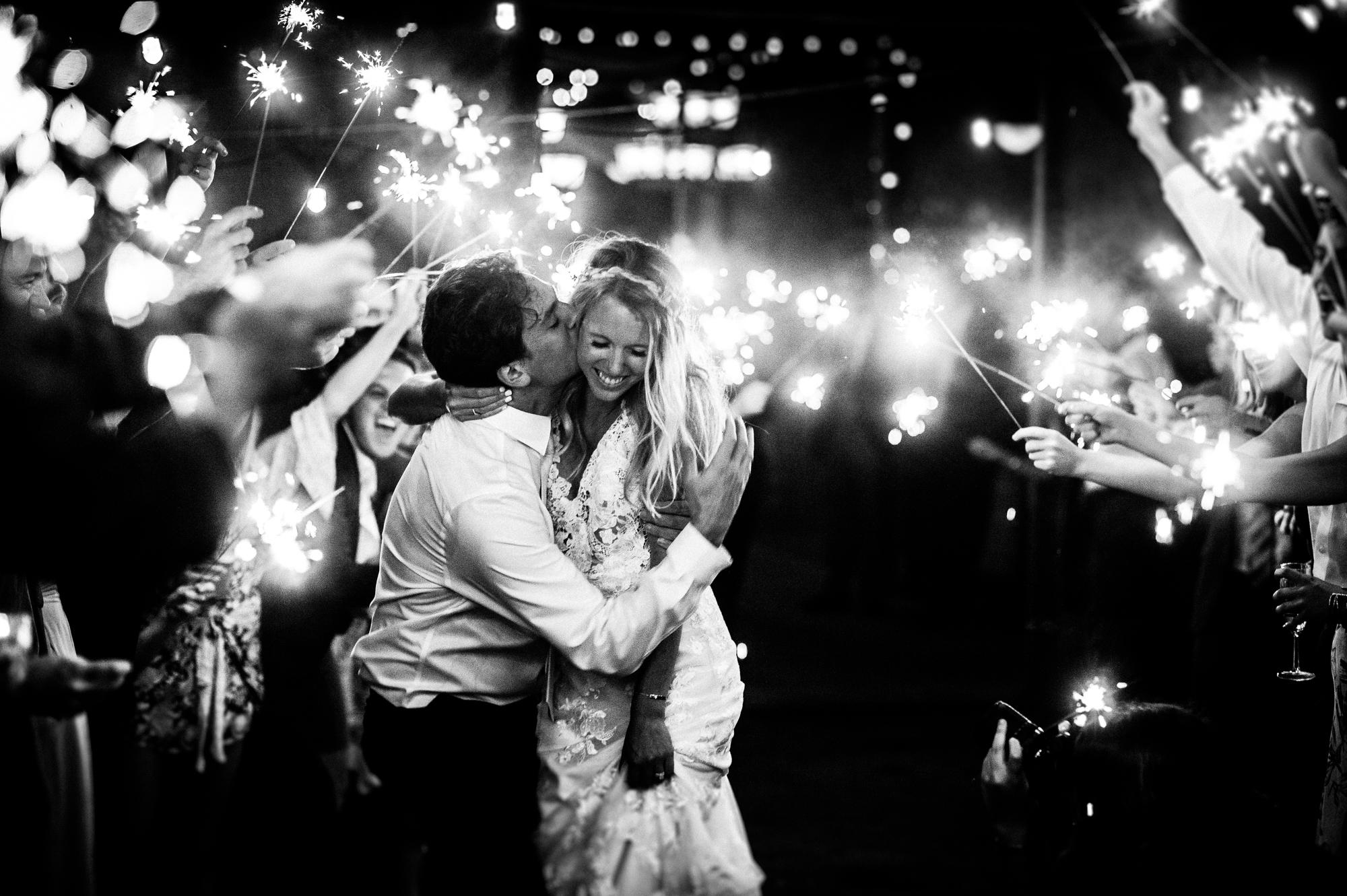 sparkler exit during asheville wedding