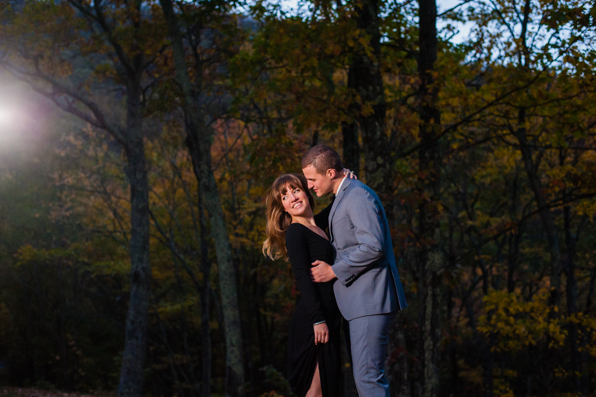 blue ridge parkway nighttime engagement session