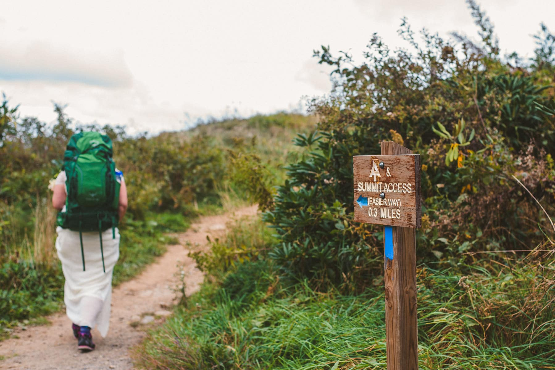 backpacking bride during her Max Patch elopement