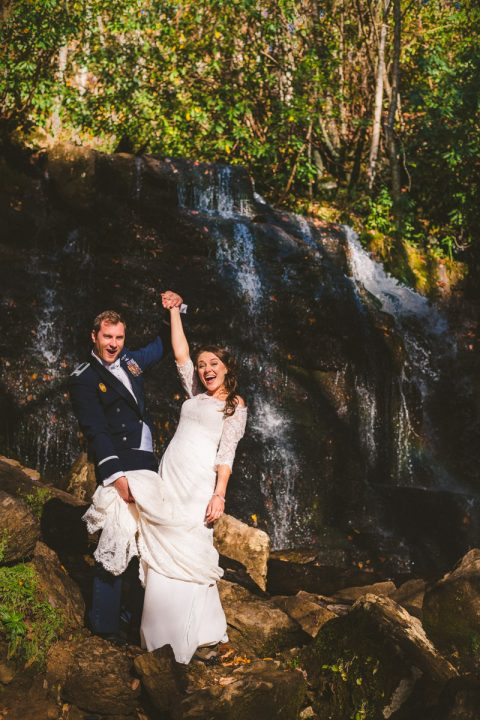 waterfall elopement in the great smoky mountains