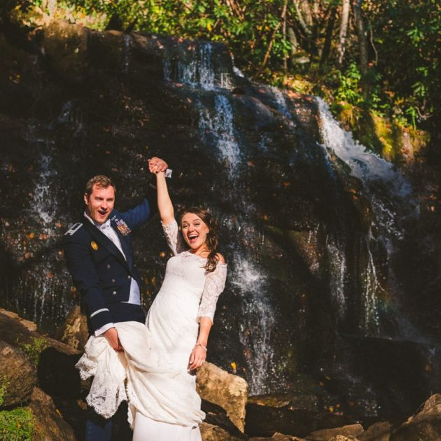 adventurous waterfall elopement in the blue ridge mountains