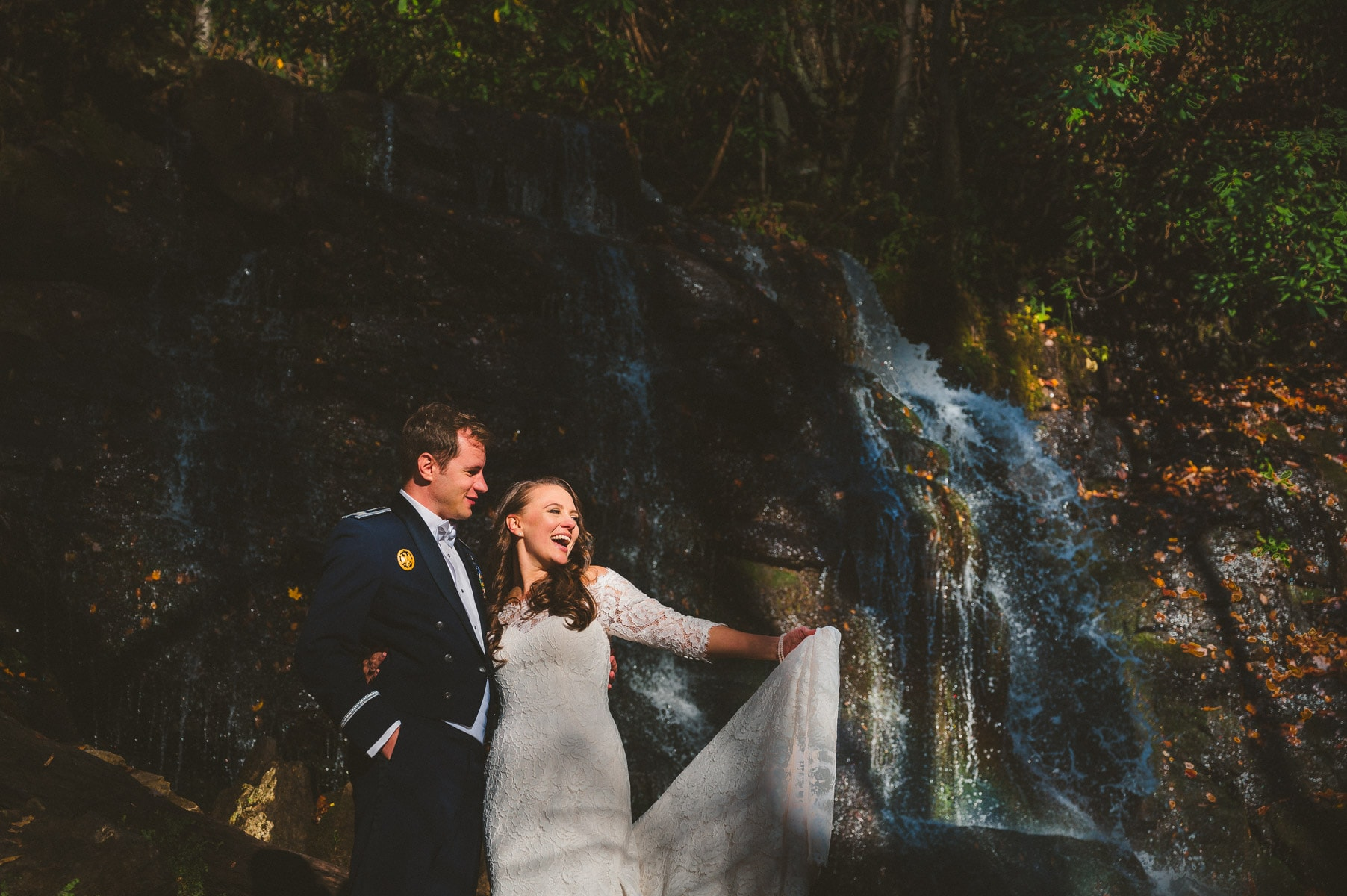 waterfall elopement in the Great Smoky Mountains with the cutest couple