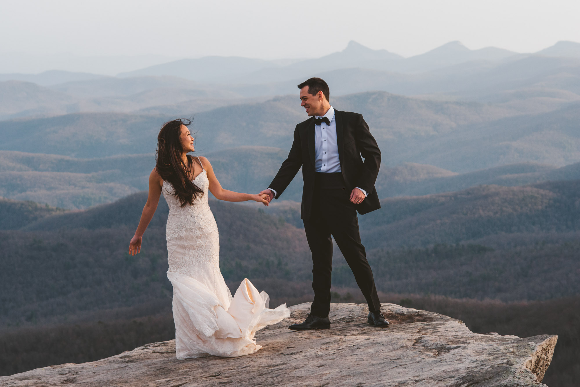 Blue Ridge Parkway Elopement at Rough Ridge near Boone NC