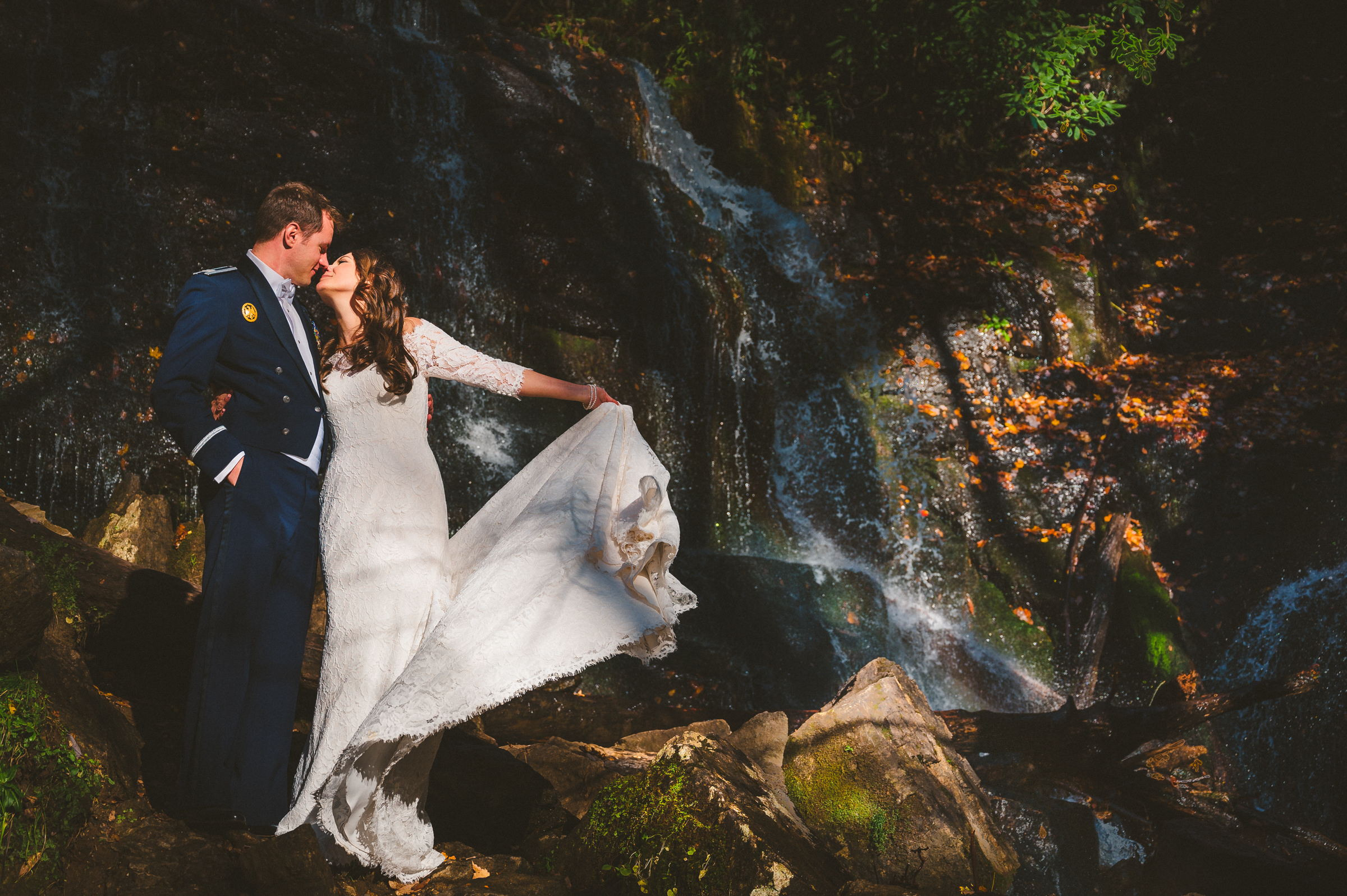 Great Smoky Mountains waterfall elopement