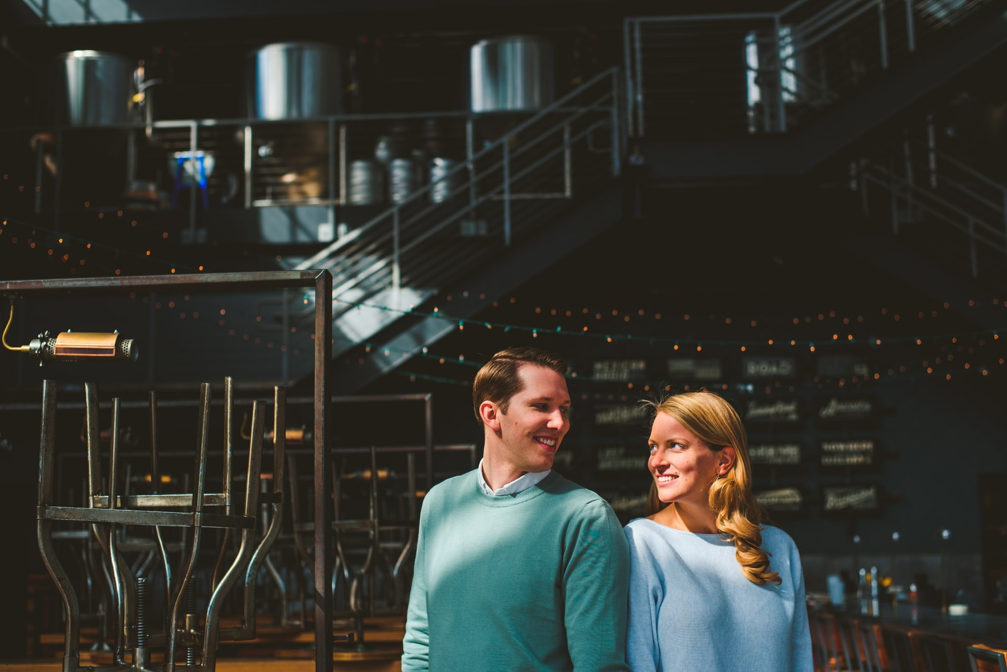 blue jacket brewing company engagement session in Washington DC
