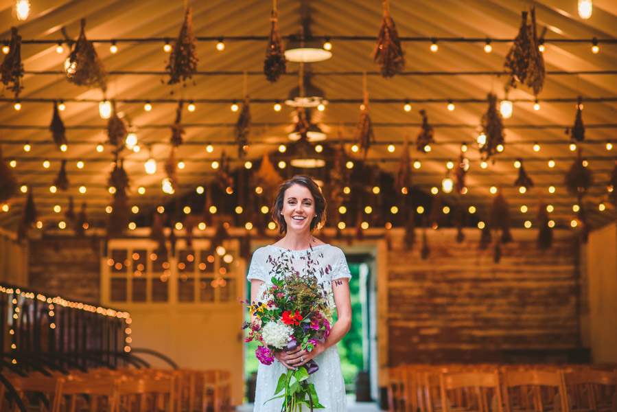 a portrait of a bride in the diary barn, Yesterday Spaces rain backup ceremony location