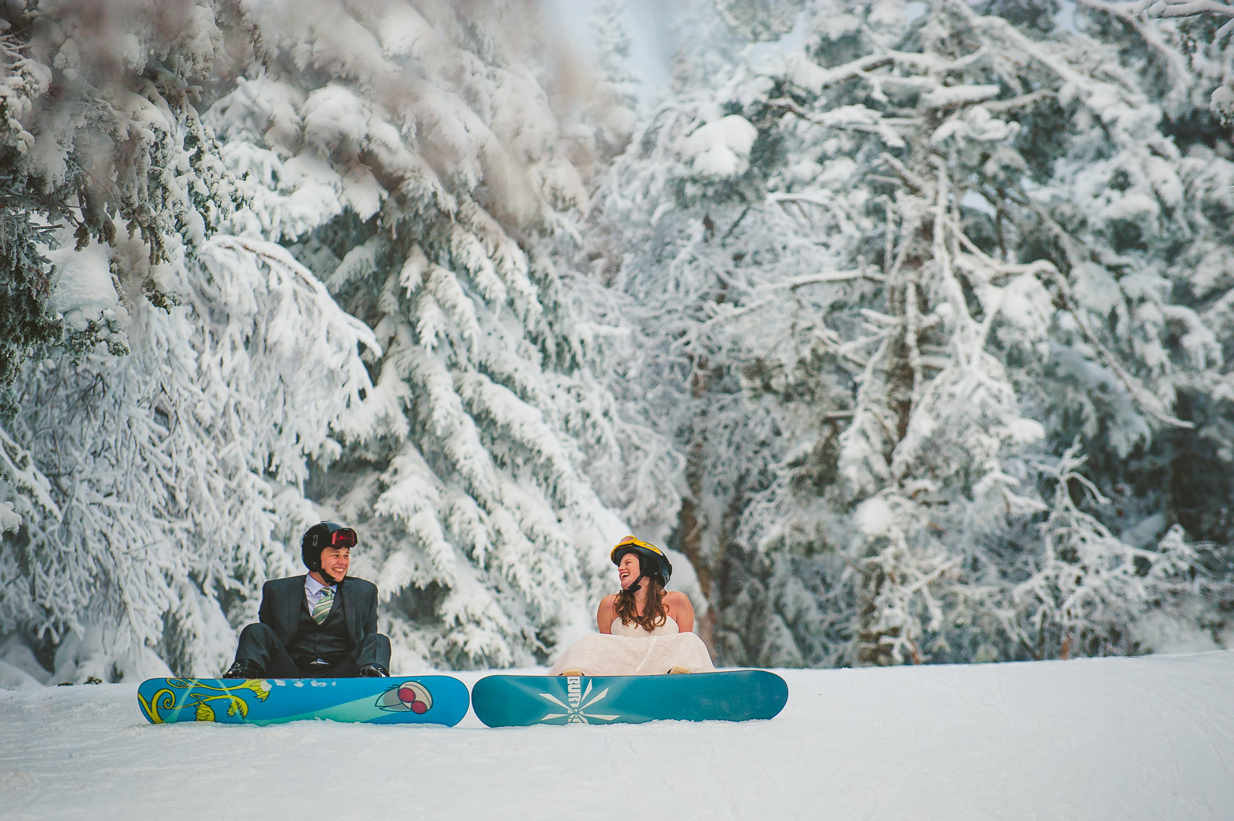 Adventurous Snowboarding elopement photography