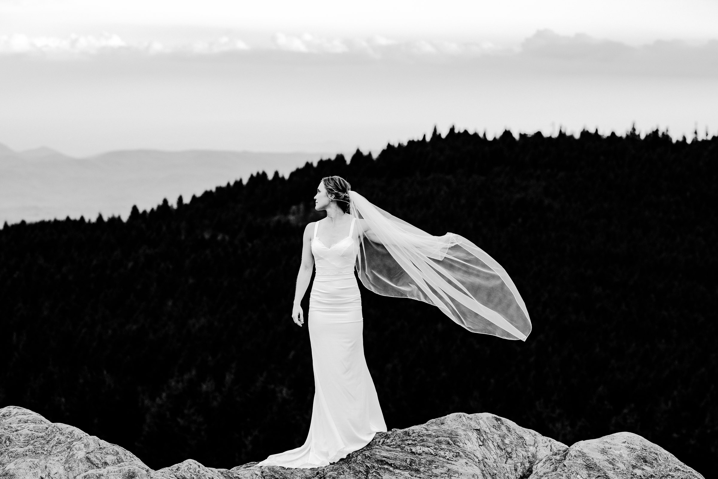 Black Balsam bride on mountain during her adventurous bridal session
