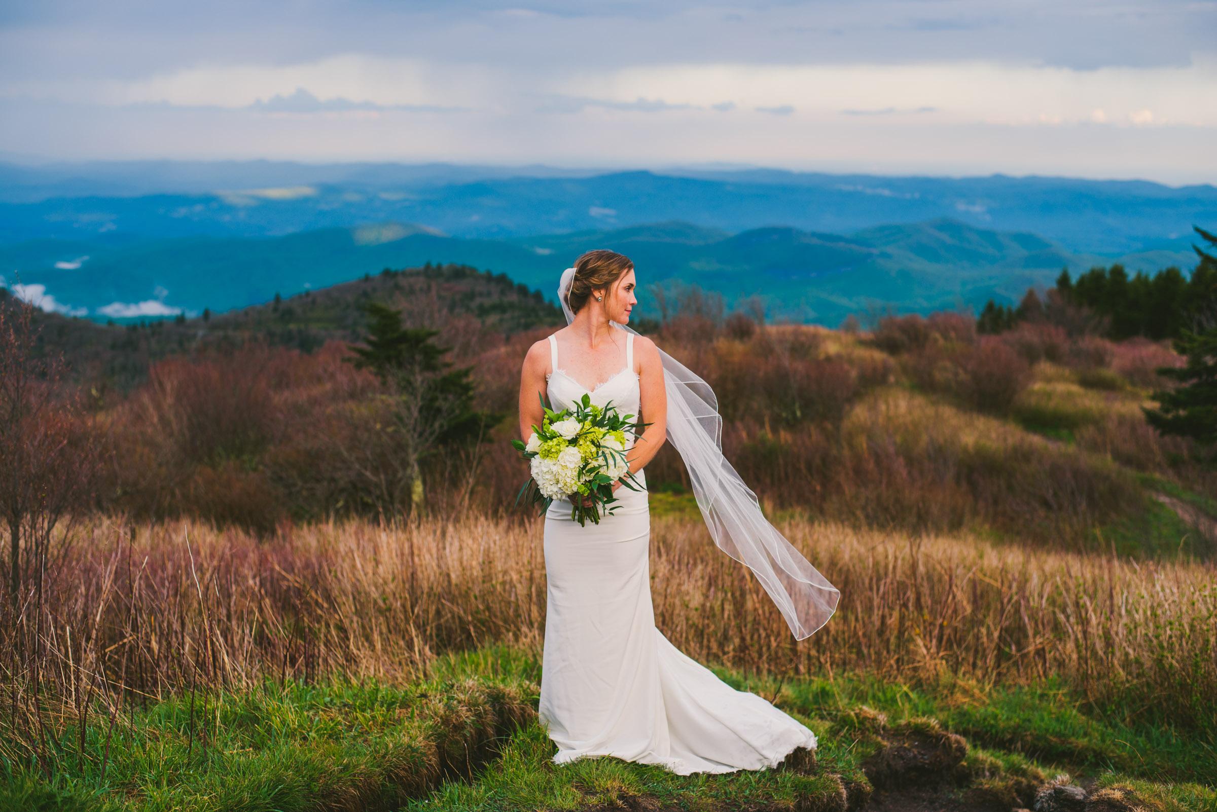 Bride on black balsam knob on the blue ridge parkway