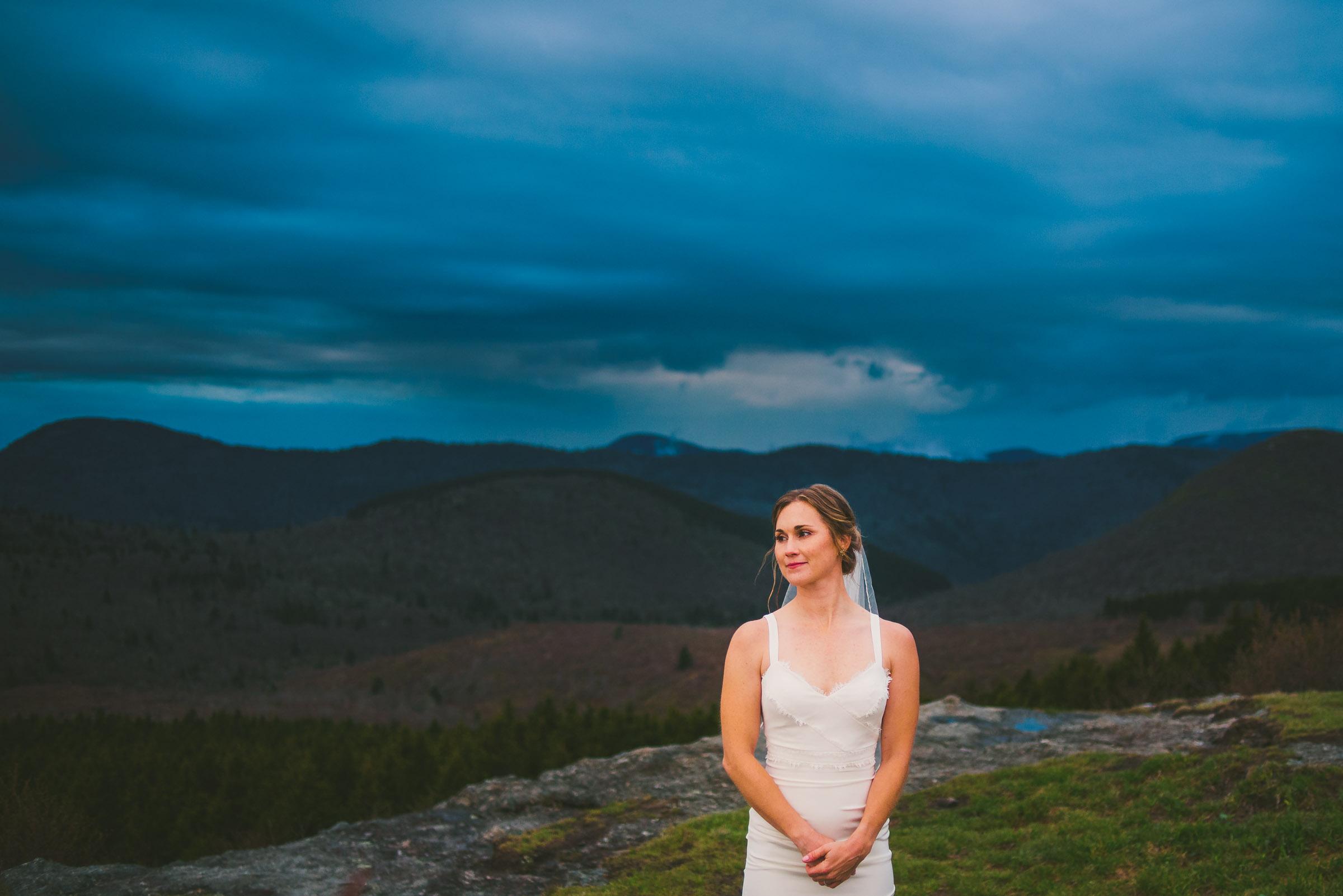 beautiful blue ridge parkway bridal portrait