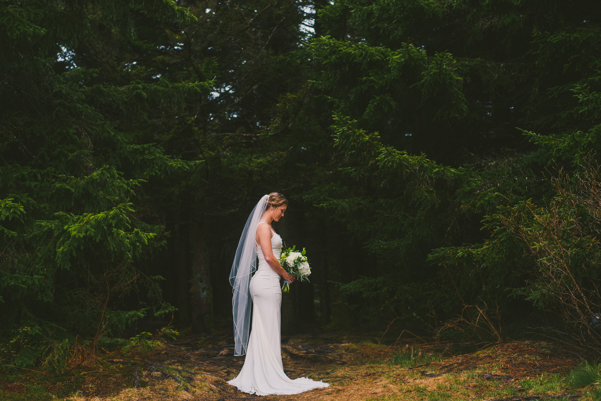 Bride in a forest during her bridal session on the Blue Ridge Parkway