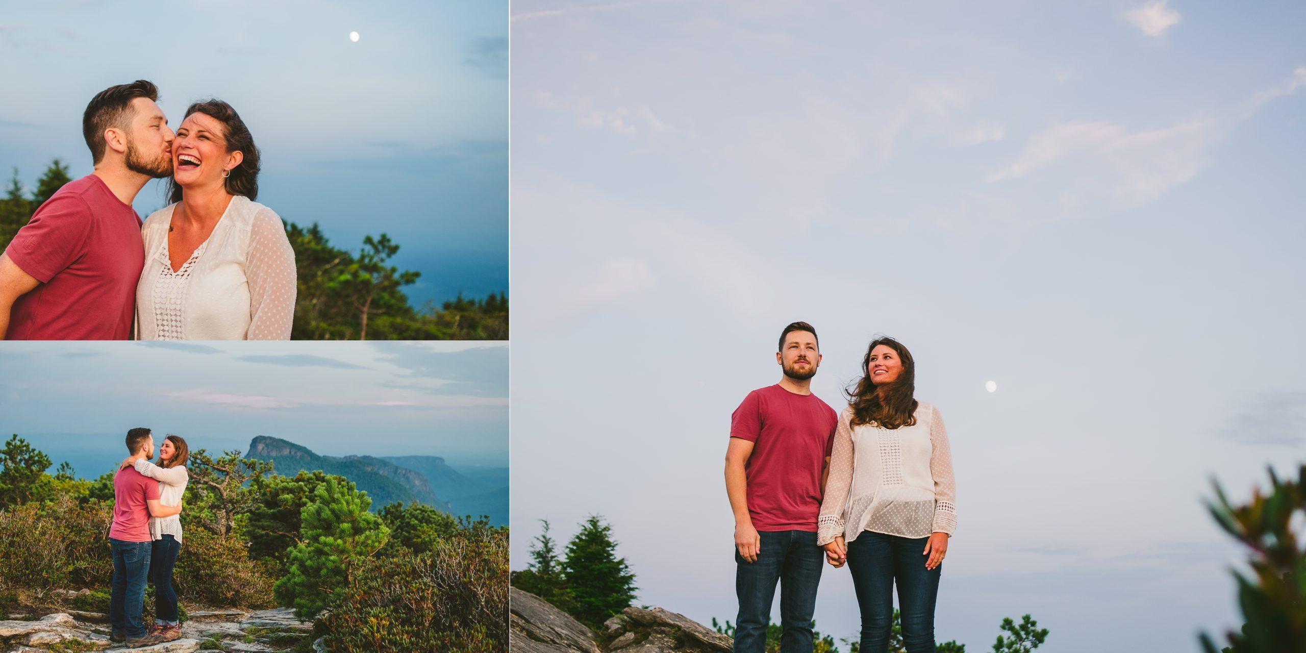Couple having fun during adventurous mountain engagement session