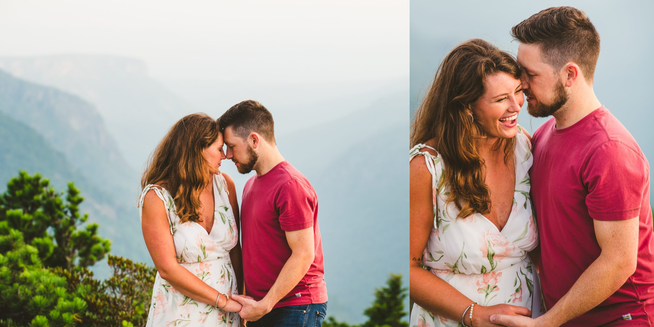 Couple embraces during their Hawksbill Mountain engagement session
