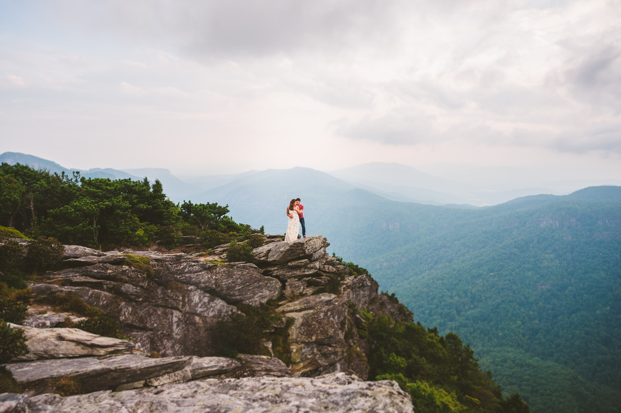 Adventurous couple during engagement session in the Blue Ridge Mountains