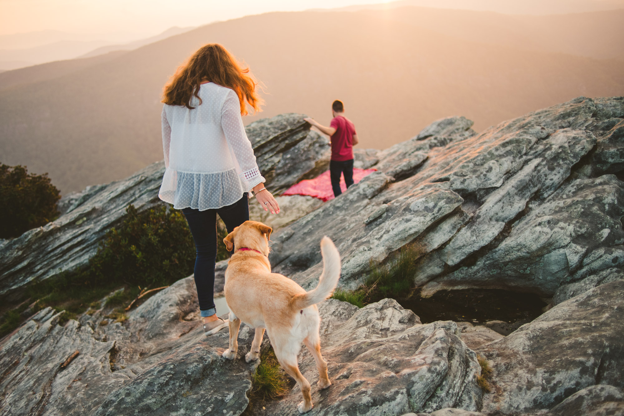 Sunset engagement photo in Linville Gorge