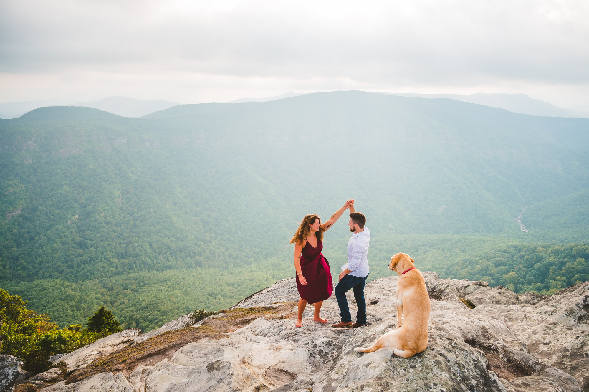Adventure engagement session with a dog
