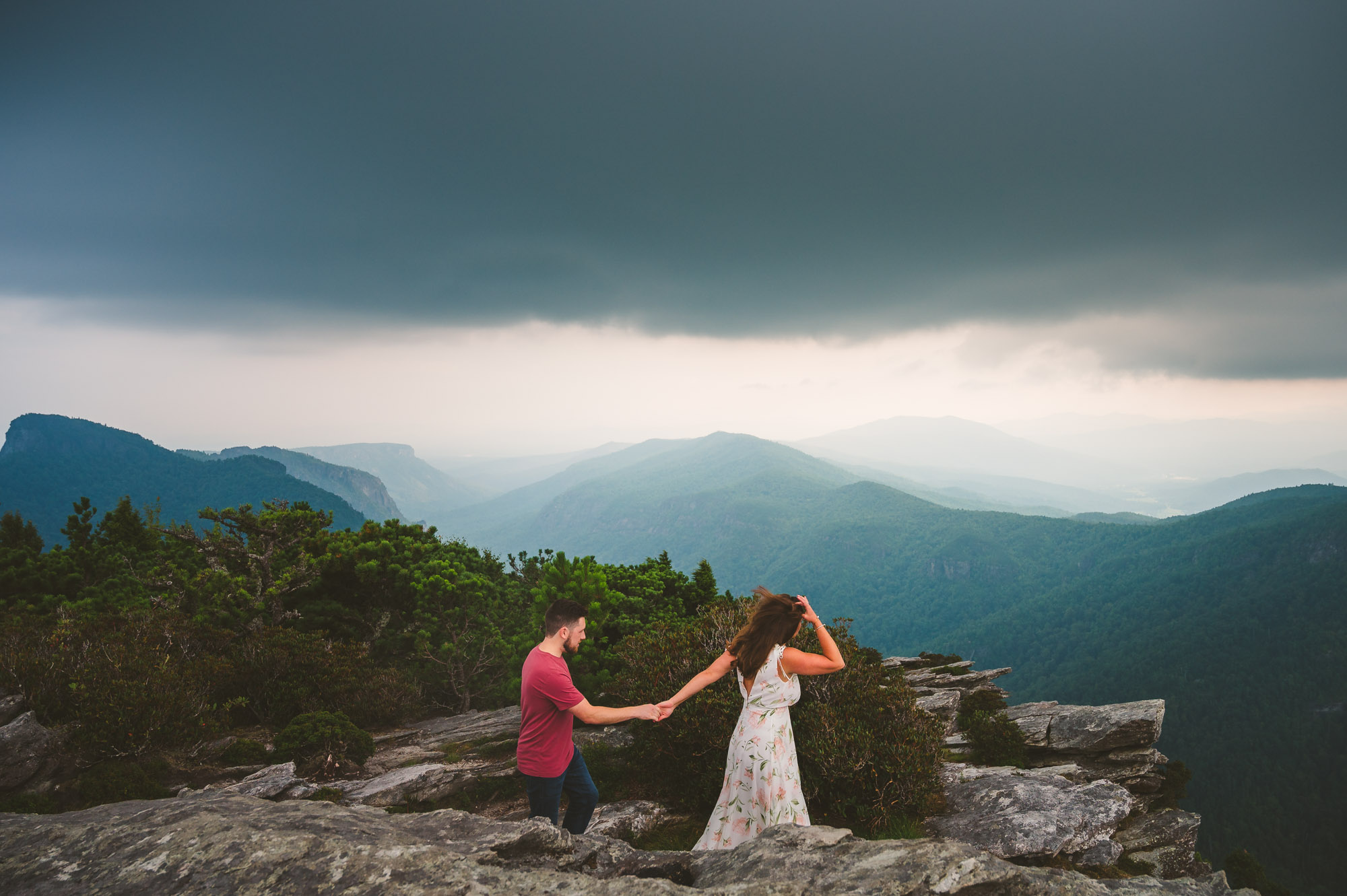 Wild engagement photos in Linville Gorge