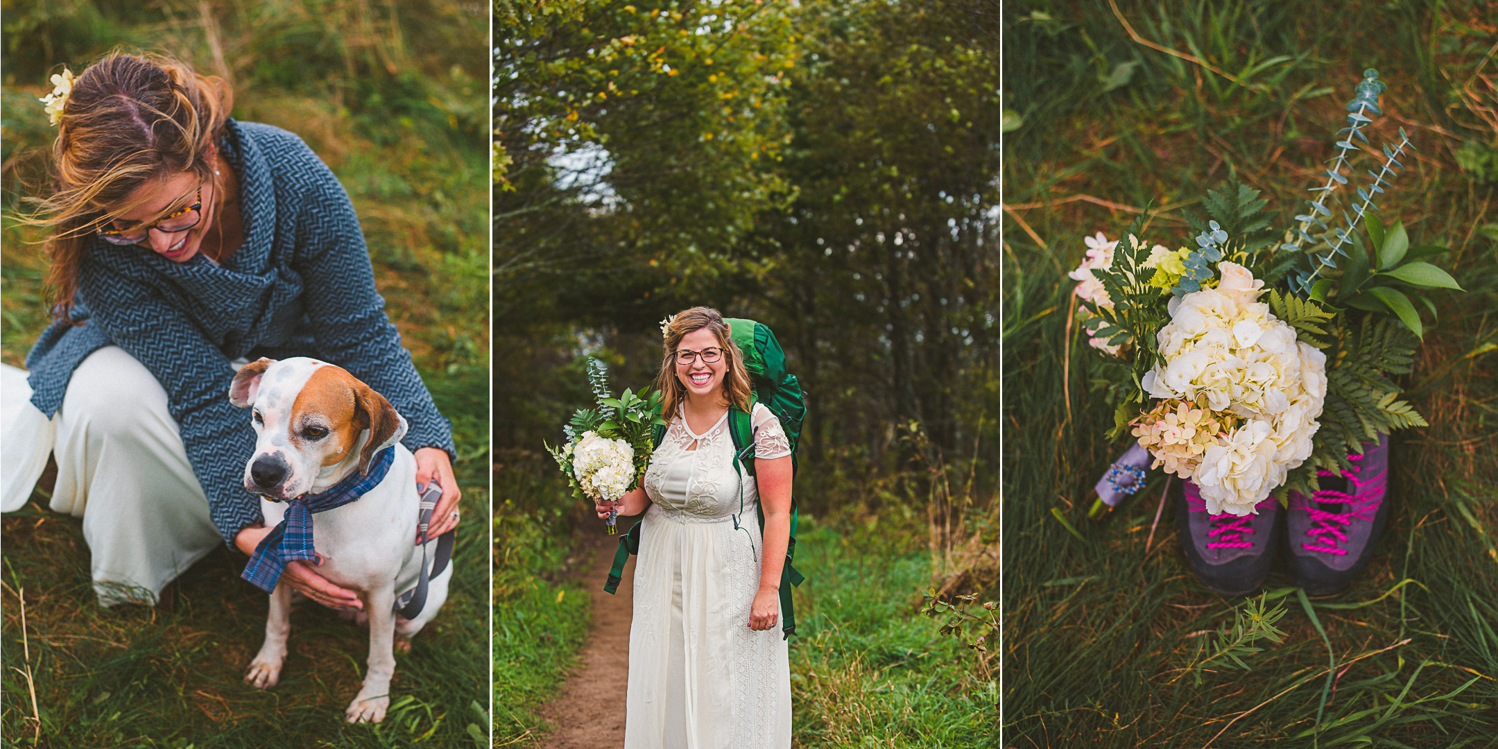 Adventurous bride walking up Appalachian trail for her elopement on Max Patch