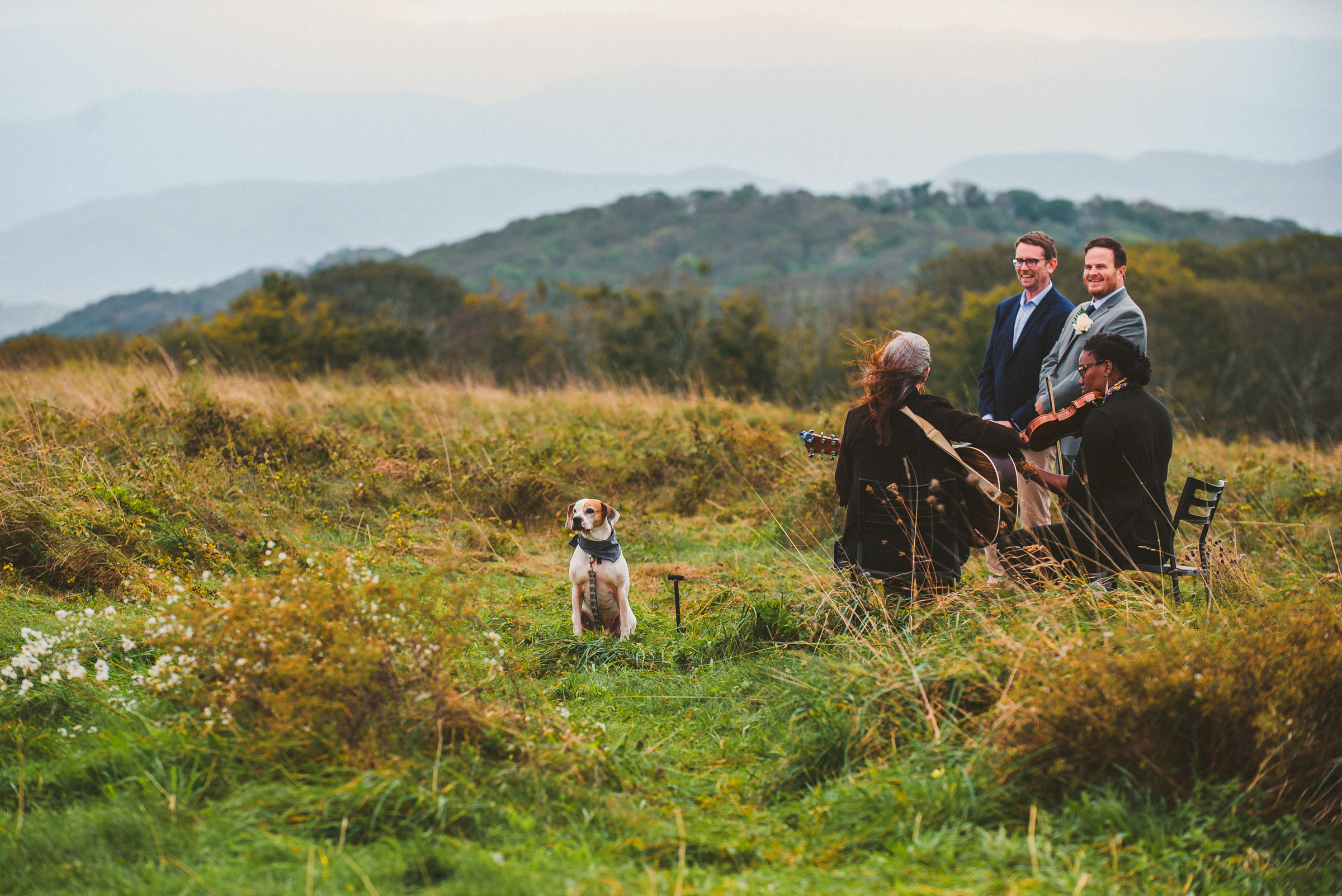 Groom waiting for his bride on top of Max Patch Mountain