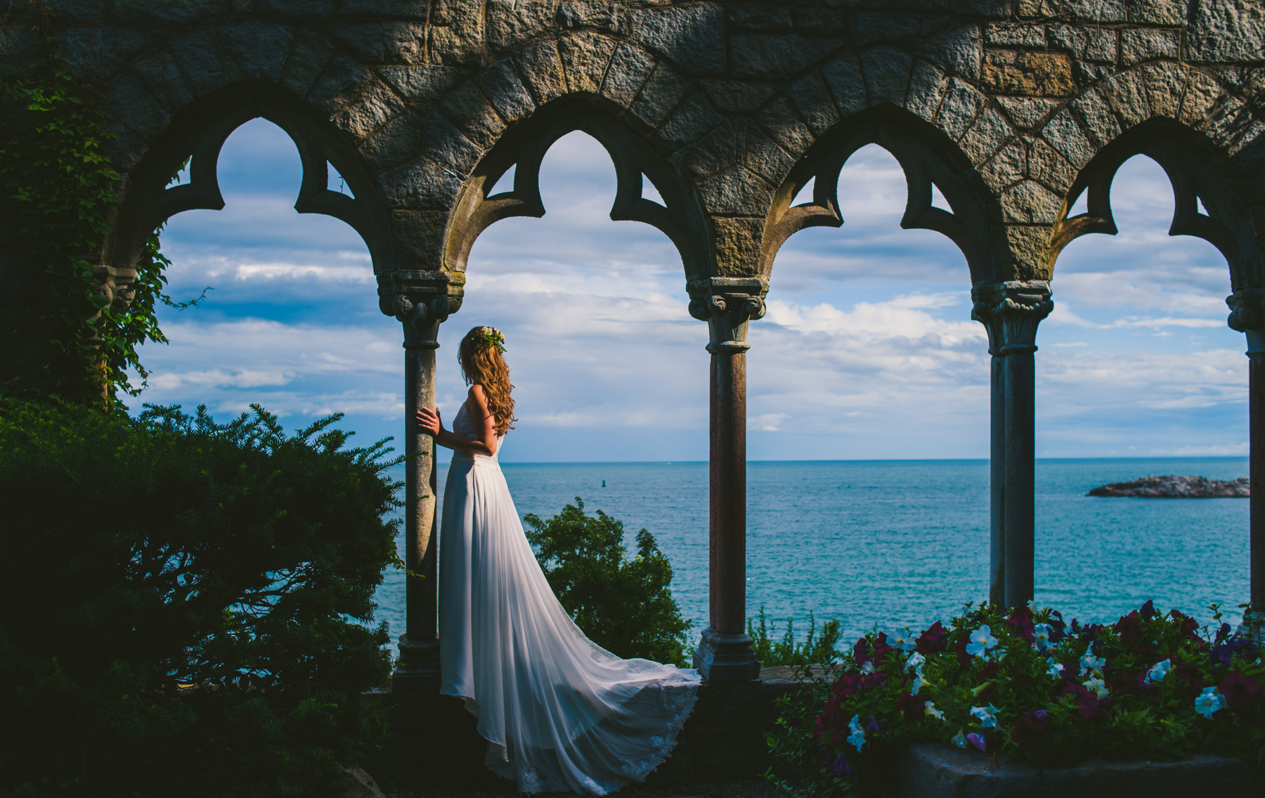 bride by the ocean during a castle elopement in scotland