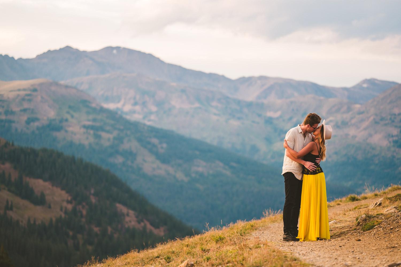 Couple on Loveland Pass during their sunset photoshoot