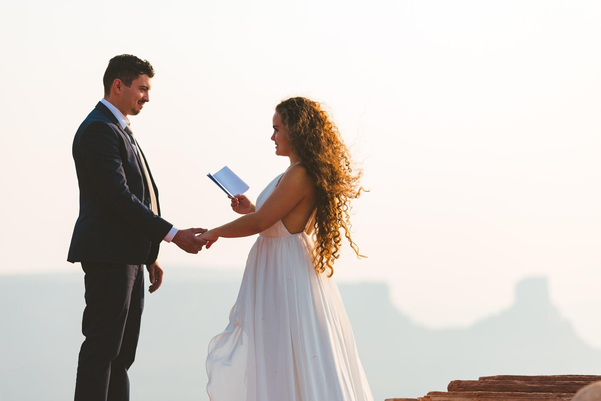 Moab Utah elopement ceremony
